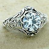 Art Nouveau ''Scottish Thistle'' 925 Silver Antique Finish CZ Ring Size 10 KN-1489