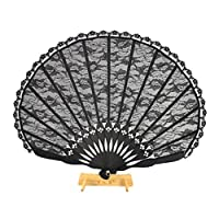 夏の装飾のための中国風のレースの扇子古代シルクファンブラックチャイナドレスヴィンテージハンドファン