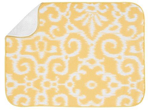 InterDesign Ikat Tapete, tamaño Extra Grande, 61 x 46 cm, Color Amarillo y Blanco, Poliéster, Centimeters
