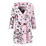 Mamum Robe de Chambre en Flanelle Bébé Garçon Fille Automne Hiver Peignoir de Bain avec Capuche Animal Vêtement de Nuit Enfant Cartoon Mignon Pyjama 1-8 ans 6 Styles (56 Rose, 140(7-8Ans))