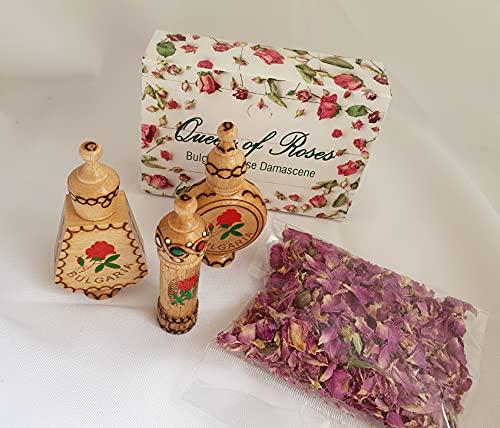 Bulgarian ROSE Huiles parfumées, 3 fioles en bois + fleurs de rose séchées, petit cadeau