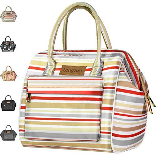 longzon 15L Kühltasche Lunchtasche Picknicktasche Wasserdichte Faltbar Thermotasche Kühltasche für Camping, BBQ, Wandern, Picknick- Rote und weiße Streifen