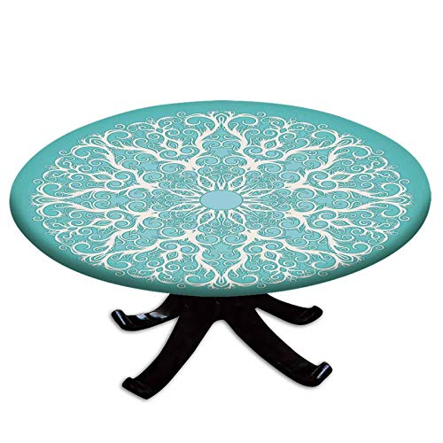 Elastic Edged Polyester Fitted Table Cover,Round Curving Tree Branches Pattern Infinite Life Circle Symmetrical Cuves Floral Design,Fits up 56'-66' Diameter Tables,The Ultimate Protection for Your Tab