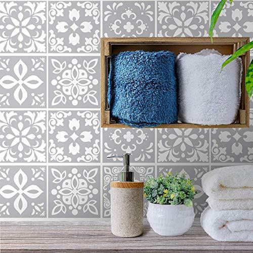 WALPLUS 24pcs Tile Stickers Muraux Auto-Adhésif Peel And Stick Stickers Carrelage Cuisine Dosseret Peinture Carrelage Salle De Bain Carreaux de Ciment Peinture Mur Autocollant Carreau Ciment