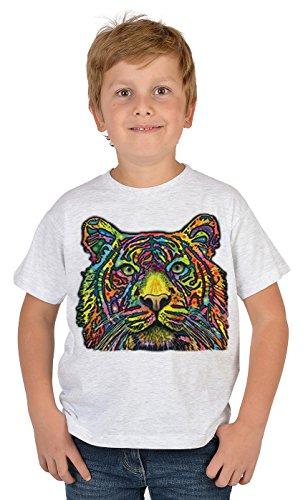 Tiger-Motiv Kindershirt - Kunstdruck Tiger - buntes Tigershirt für Kinder : Tiger - Tiermotiv Wildkatze Kinder T-Shirt Gr: L = 146-152