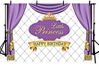 新しいリトルプリンセスお誕生日おめでとうパーティーの装飾写真スタジオブースの背景紫のカーテンゴールドクラウンガール写真背景バナー250x180cm