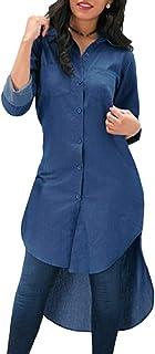 Bestwo Women's Jeans Denim T Shirt Long Sleeve High Low Hem Casual Solid Shirt Mini Dress