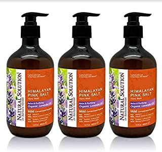 Natural Solution Himalayan Pink Salt Liquid Hand Soap,Relax & Purifying,Lavender Oil - 14 oz (3 Pack)