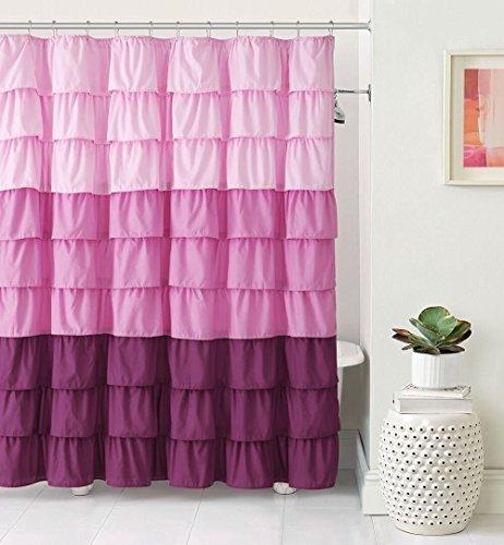 VCNY Home Heavy Duty Luxurious Shabby Gypsy Ruffled Fabric Shower Curtain (Pink)