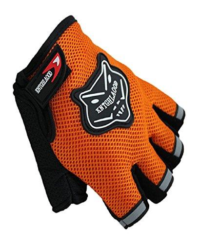 Malloom Medio corto ciclismo dedo guantes de moto de verano (naranja)