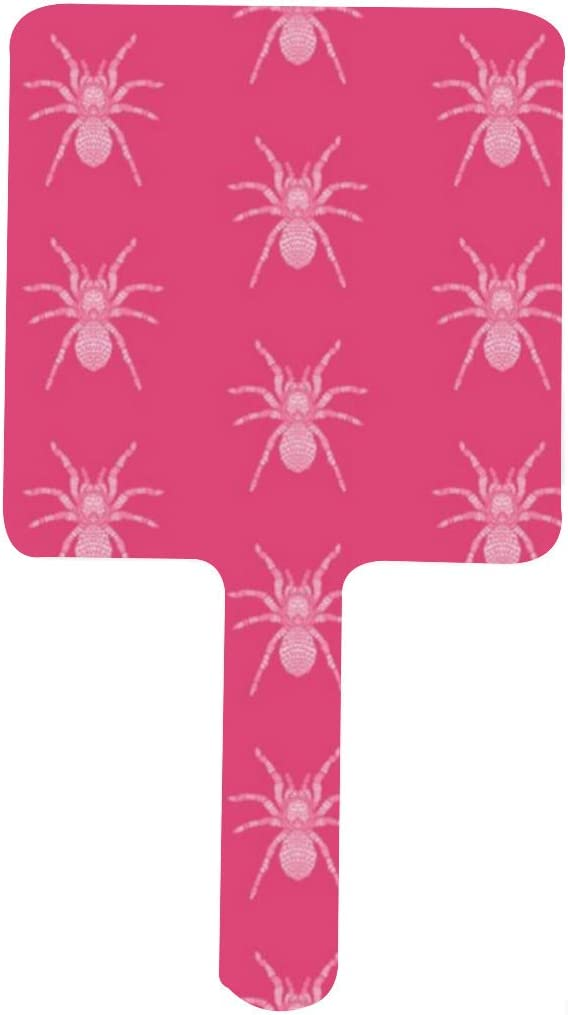 Pink Tarantula Spring new work Pattern Portable Excellent Handle Square Mirr Mirror Makeup