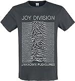 Amplified Joy Division-Unknown Pleasures Camiseta, Gris (Charcoal CC), XL para Hombre