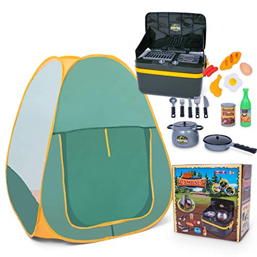JoyKip Kids Pretend Camping Tent Set for Kids- Camping Set with Lights and Sounds Includes Grill-And-Go for Kids aged 3 years +