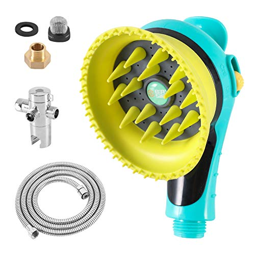 ETERSTAR Quality Dog Wash Shower Kit,Combing Shower Sprayer with Fluff Clean, Massage and Water Flow Control Functions,Green/Orange,Dog and Cat Grooming (Shower Head Brush Set(Green))