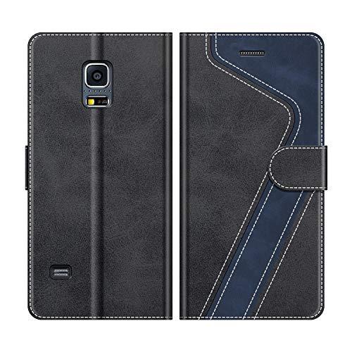 MOBESV Handyhülle für Samsung Galaxy S5 Mini Hülle Leder, Samsung Galaxy S5 Mini Klapphülle Handytasche Case für Samsung Galaxy S5 Mini Handy Hüllen, Modisch Schwarz