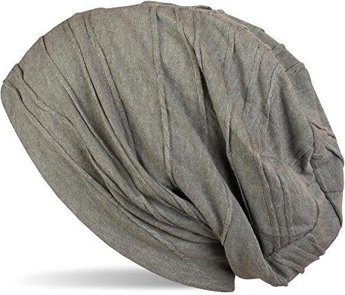 styleBREAKER klassische Beanie Mütze mit Falten Muster, Longbeanie, Unisex 04024053, Farbe:Oliv (One Size)