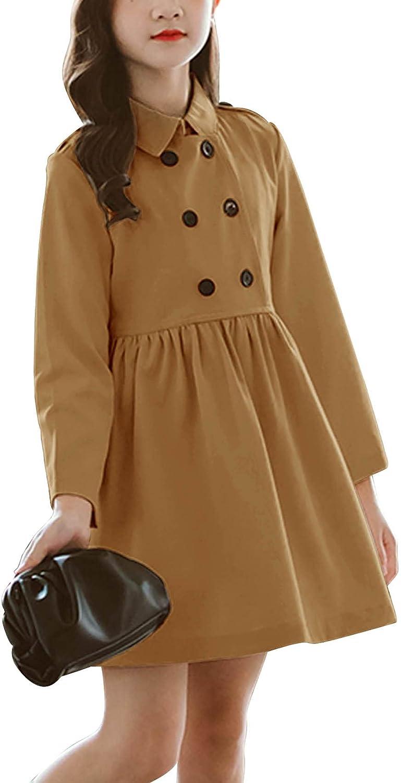 Girl's Dress Coat Double Breasted Long Sleeve Lapel A Line Winter Coat Outwear