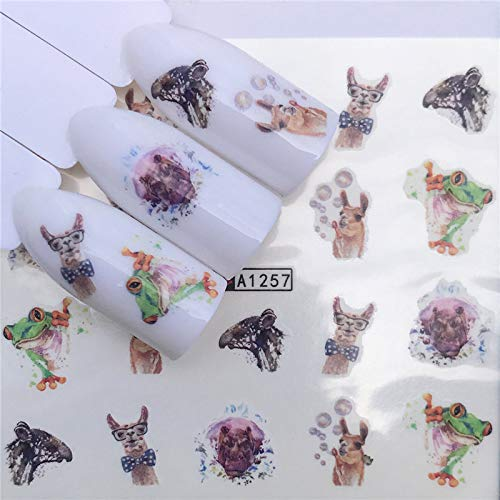2019 1 PZ Nuovi Disegni Fiore Glitter Nail Sticker Acqua Trasferimento Stili Animali/Natale Serie Nail Art Decalcomanie YZW-A1257