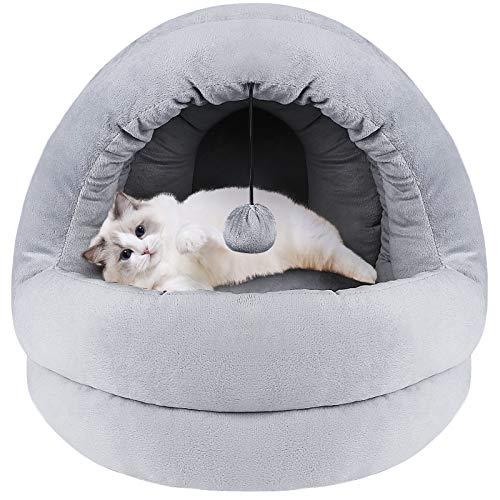 G.C Cat Beds for Indoor Cats, Fluffy Cat Bed Cave, Dog Pet Calming Washable Self Warming Luxury Sofa Bedding Cushion Nest for Large Medium Small Kitten Puppy with Dangling Ball