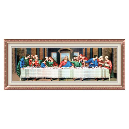 Ikercs Last supper of Jesus 3D Stamped Cross Stitch Kit - 73.6inch By 26.4inch