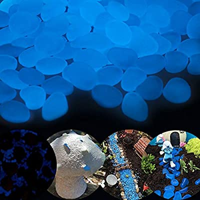 GLOCARNIVAL Glow in The Dark Pebbles for Outdoor Decor, Garden Lawn Yard, Aquarium, Walkway, Fish Tank, Pathway, Dwered by Light or Solar-Recharge Repeatedlyriveway, Luminous Pebbles (Blue-200)
