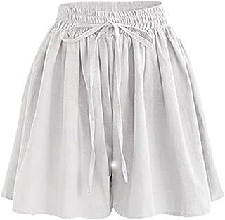 Women's Summer High Elastic Waist Drawstring Wide Leg Chiffon Culottes Shorts White Tag 4XL-US 14
