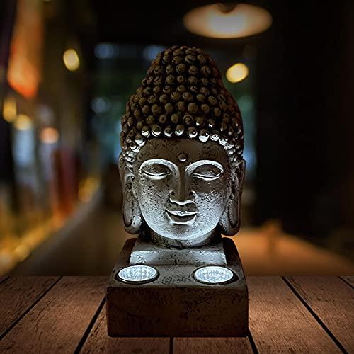 Buddha Kopf Deko Figur Garten Budha Statue aus Harz mit Solar LED Lampe für Yoga, Feng Shui oder Meditation