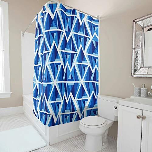 Charzee - Tenda da Doccia con Motivo Geometrico Blu, Lavabile, 180 x 200 cm, Poliestere, Bianco, 150 x 200 cm