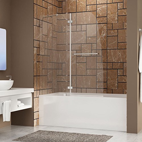 SUNNY SHOWER TD2 Bathtub Door Frameless Hinged Tub Door 5/16' Glass Panel, Chrome Finish, 48' W x 58' H, Support Bar Included