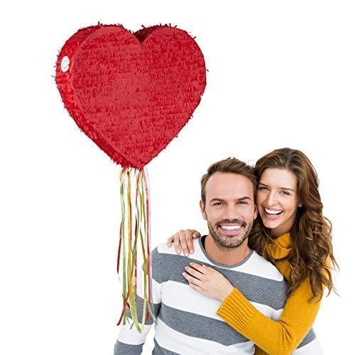 Relaxdays 10025175 Herzpinata, Zugpinata zum Aufhängen, Kinder & Erwachsene, Ziehpinata zum selbst Befüllen, Hochzeit, Pinata, rot