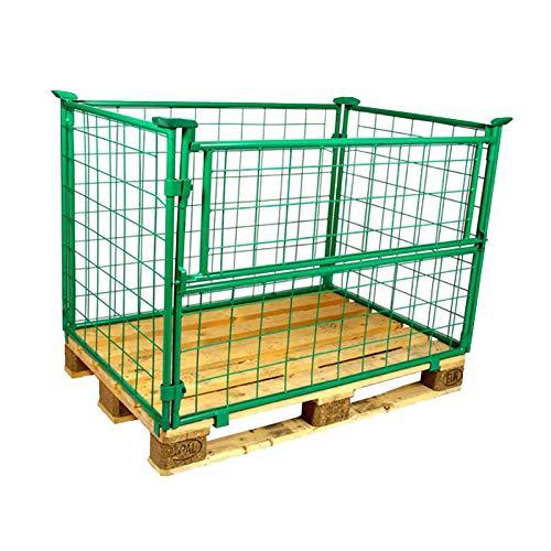 E.S.B. Gitteraufsatzrahmen 1200x800x1200 mm grün lackiert für Euro-Paletten – klappbare Gitterbox mit 1200 mm Nutzhöhe für DIN-Paletten – praktisch für Industrie & Garten & Brennholz