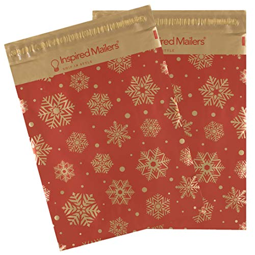 Inspired Mailers - Poly Mailers 10x13-100 Pack - Gold Snowflakes Deluxe (Red) - Winter Mailing Bags - Shipping Bags - 10x13 Poly Mailers - Mail Packaging Bags