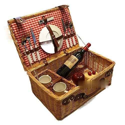 tianluo Cesta de picnic cesta de picnic de ratán con cesta de almacenamiento de vajilla para picnic al aire libre suministros de salida conjunto completo