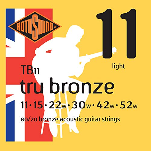 Rotosound 80/20 Bronze Light Gauge Acoustic Guitar Strings (11 15 22 30 42...