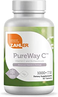 Zahler PureWay C 1000mg, Advanced Vitamin C Immune Support Supplement, All Natural Powerful Viral and Bacterial Protector, Certified Kosher, 90 Tablets