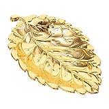BESPORTBLE Pequeña Bandeja de Hoja de Oro Decorativa de Oro Collar Pulsera Soporte Bandeja Organizador para Boda Fiesta Mujer Chica Oro M