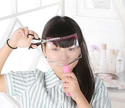 Haarschneidehilfe mit Auffangbehälter zum Schneiden von Ponys, zum Ausdünnen von Haaren, mit transparentem Schutzschild (Schere nicht im Lieferumfang enthalten)