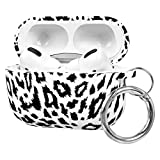 FRDERN AirPods Pro case with Keychain Soft Silicone Fadeless Pattern Printed Case Cover Skin Women Girls Men , Support Wireless Charging for AirPods Pro (White Leopard)