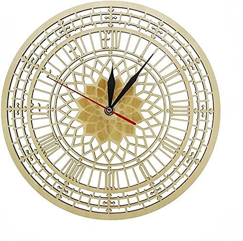 Reloj de pared Londres S Big Ben en madera Silencioso reloj de cuarzo de la torre Elizabeth Reloj de pared de madera rústica, decoración contemporánea del hogar regalo de Londres