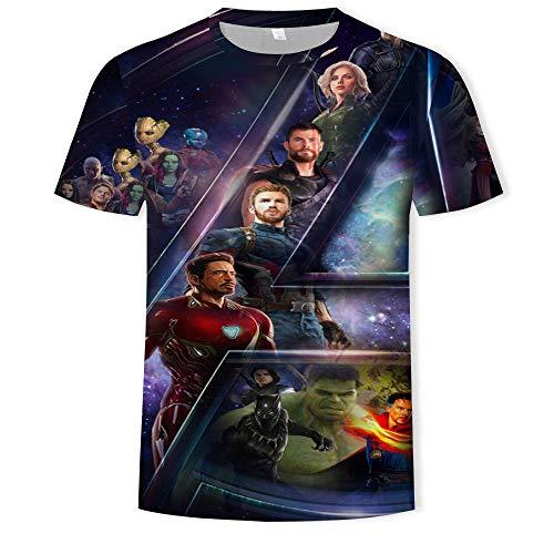 Los Vengadores 3D Pattern Impreso Summer Camiseta Impresión Digital 3D Super Héroes Cuello Redondo Casual Manga Corta b XXL
