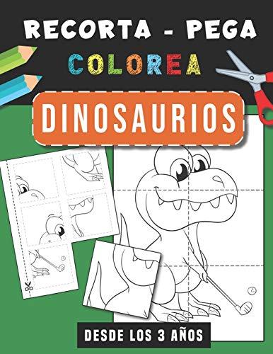 Dinosaurios   Recorta Pega Colorea: Libro de actividades para niños y niñas   Cuaderno de actividades infantiles   Libro para colorear navideño   Páginas para recortar   Desde Los 3 años