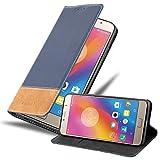 Cadorabo Hülle für Lenovo P2 in DUNKEL BLAU BRAUN - Handyhülle mit Magnetverschluss, Standfunktion & Kartenfach - Hülle Cover Schutzhülle Etui Tasche Book Klapp Style