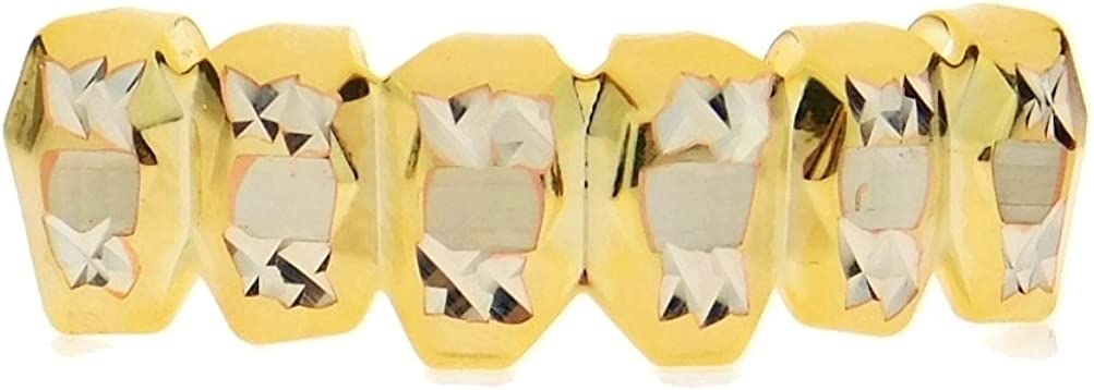 14K Gold Plated Grillz Deep Diamond-Cut Bottom Lower Row Teeth Hip Hop Mouth Grills