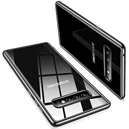 TORRAS Crystal Clear Kompatibel mit Galaxy S10 Hülle, Transparent Dünn Slim [Anti-Gelb] Hülle Weiche Silikon Bumper Case Scratchproof Kratzfest Durchsichtige Schutzhülle Handyhülle - Schwarz