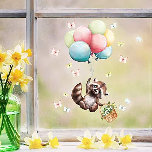 Wandtattoo Loft Fensterbild Frühling Ostern wiederverwendbar Fensteraufkleber Kinderzimmer / 1. Waschbär Ballons (2001) / 1. DIN A4 Bogen