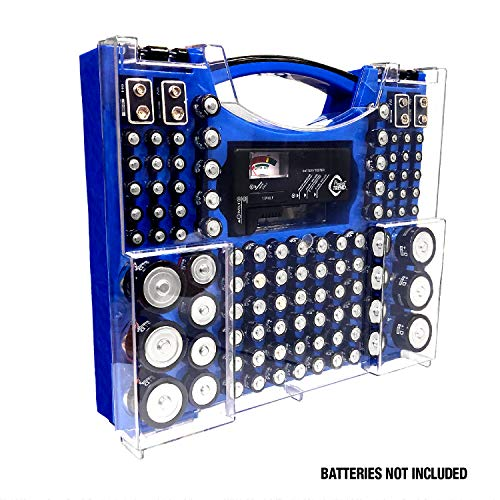 Review Battery Pro Organizer & Tester, Holds 100 Assorted Batteries - Blue