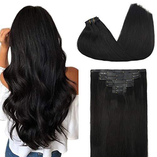 GOO GOO PU Clip in Hair Extensions Human Hair 20 Inch Natural Black 150g 7pcs Thick Real Hair Extensions with PU Clips Seamless Hair Extensions Clip in Human Hair Remy Human Hair Extensions