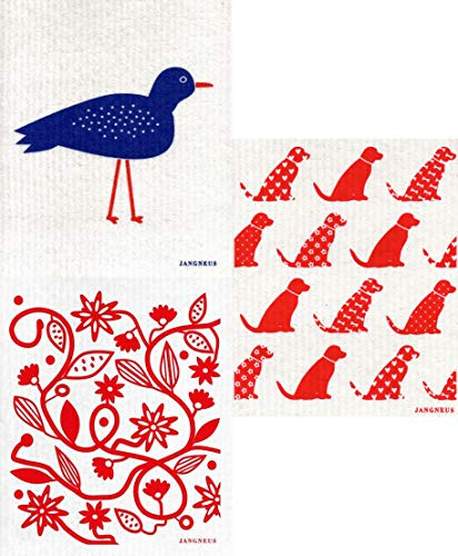 JANGNEUS Swedish Dishcloths/Sponge Cloths: Packs of 3 Different Dark Blue + RED Designs (3 RED/Blue: Bird/Doodle/Dogs)