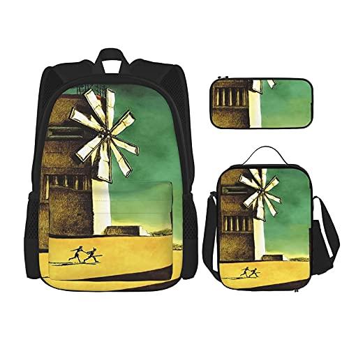 ICO Juego de 3 piezas de mochila escolar, con funda frontal, incluye estuche para lápices + bolsa de almuerzo con impresión 3D, lona de viaje, camping, mochila juvenil