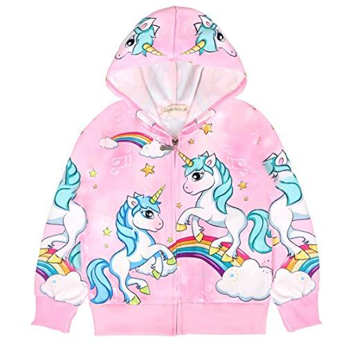 Hivia Felpa Unicorno Ragazza con Cappuccio Giacca Bambina Autunno Cartone Animato Stampa Manica Lunga Cappotto Tops con Zip/120